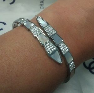 Solid 14kt White Gold MOP CZ cuff Bracelet 17.71g